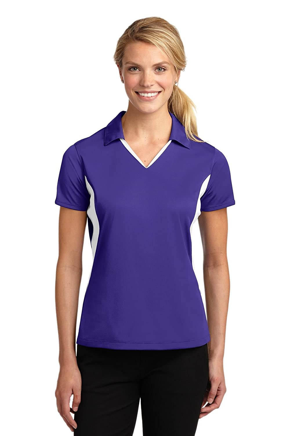 Sport-Tek Ladies Side Blocked Micropique Sport-Wick Polo LST655 Purple//White