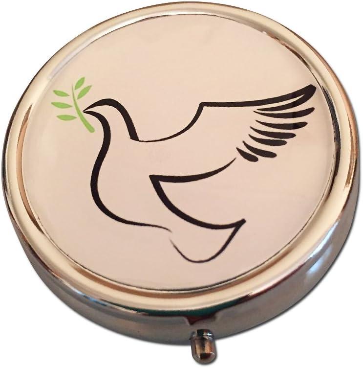 Christian Dove & Olive Branch Silver Three Compartment Pocket/Purse/Travel Pill Box Case