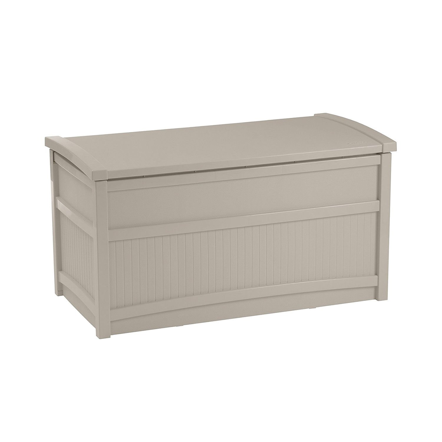 50 Gallon Stay Dry Resin Outdoor Deck Storage Box with Seat, Light Taupe With Ebook