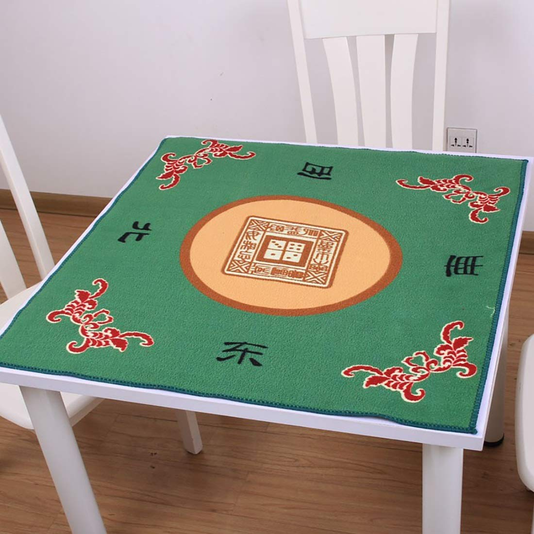 Hexiansheng Mahjong Mat Poker Mat Table Cover for Poker, Card Games, Board Games, Tile Games, Dominoes, and Mahjong Anti Slip and Low Noise78X78cm ( color   DOLLER GREEN , Size   78CM78CM )