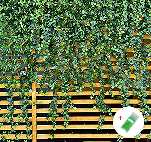 MerryNine Artificial Ivy Leaf, 84 Ft 12 Pack Hanging Vines Garland Fake Ivy Leaves Plants Fake Foliage Flowers Fake Greenery Decor for Home Kitchen Garden Office Wedding Wall Party Decoration