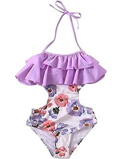 fe07cb7b2a Girls Swimsuit Falbala High Waisted Bikini Set Halter Neck Swimwear Dots  Printing Bathing Suits