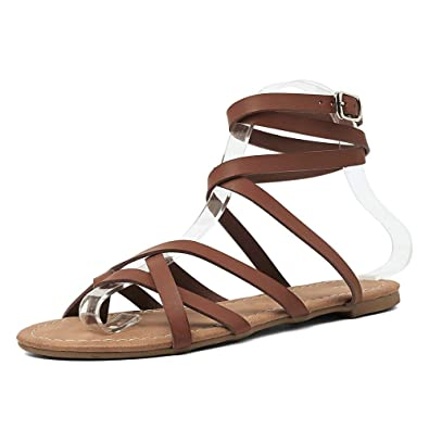 16a5be9b Amazon.com | Flat Gladiator Sandals Women Ankle Cross Strap Flip Flops  Beach Thong Sandals Comfort Summer Outdoor Walking Shoes Plus Size | Flats