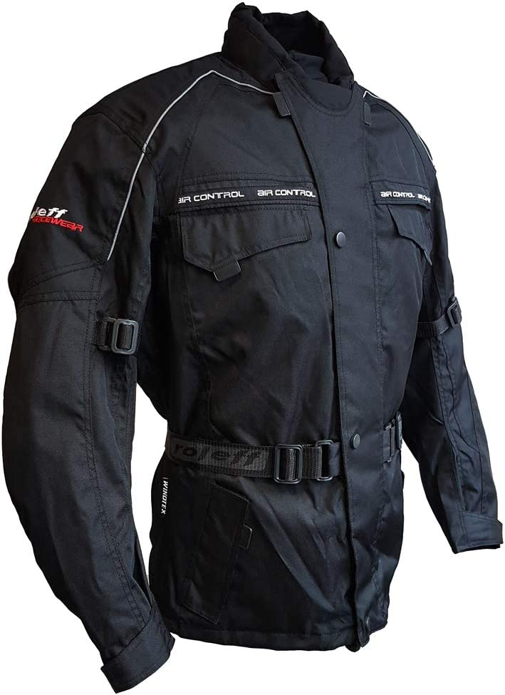 thermal lining Roleff Racewear black motorcycle jacket with protectors climate membrane and ventilation system for summer and winter