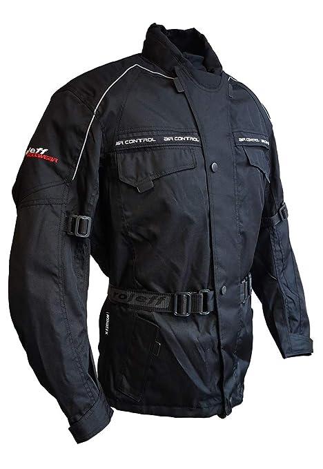 Roleff Racewear Negra Moto Chaqueta con protecciones, forro ...