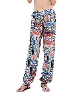 55484c2aebf Quge Ladies Womens Boho Beach Casual Pants Floral Print Elastic Waist Baggy  Harem Trousers