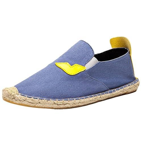 Insun Alpargatas para Hombres Lona Vamp Artesanal Suela Cuerda de Yute Ocasionales Loafer: Amazon.es: Zapatos y complementos