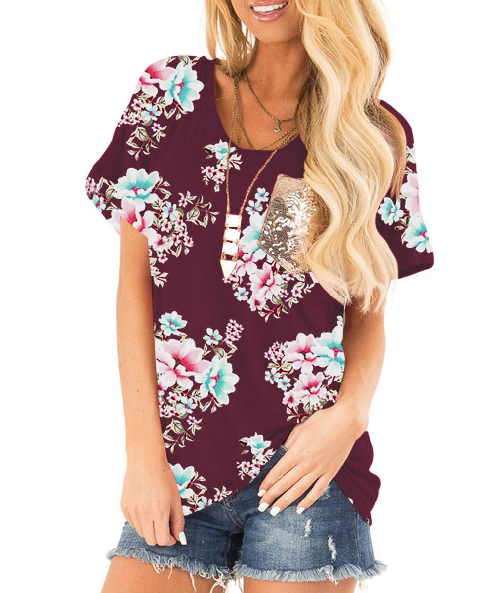 deesdail Tunic Blouse for Leggings, Women Round Neck Short Sleeve Casual Shirts Floral Print Tops Curved Hem Summer Knit Tees with Pocket Wine L