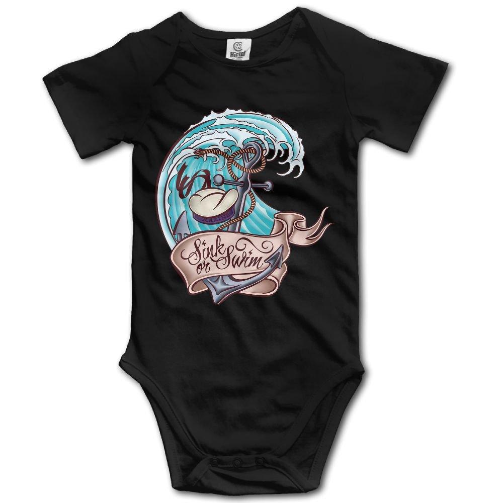 Jaylon Baby Climbing Clothes Romper Anchor Illustration Infant Playsuit Bodysuit Creeper Onesies Black