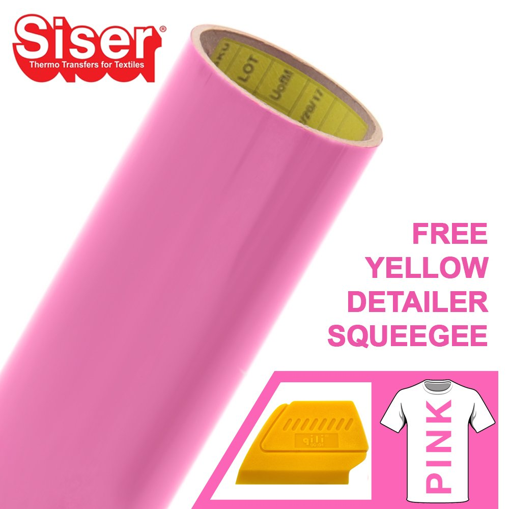Siser Easyweed 12 x 5ft Heat-Transfer Vinyl Roll Including Hard Yellow Detailer Squeegee Black