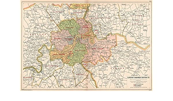 Districts Of London Map.Amazon Com London Coroners Districts Vintage Map Bacon 1927