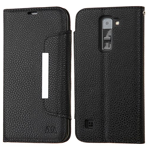 JoJoGoldStar LG K7 Case, Tribute 5 Case, Bicast PU Leather Folio Wallet Flip Cover with Card Slots and Kickstand - Black, Silver