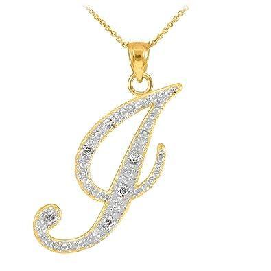 """310b775c5264c7 14k Yellow Gold Diamond Script Initial Letter J Pendant Necklace, 16"""""""