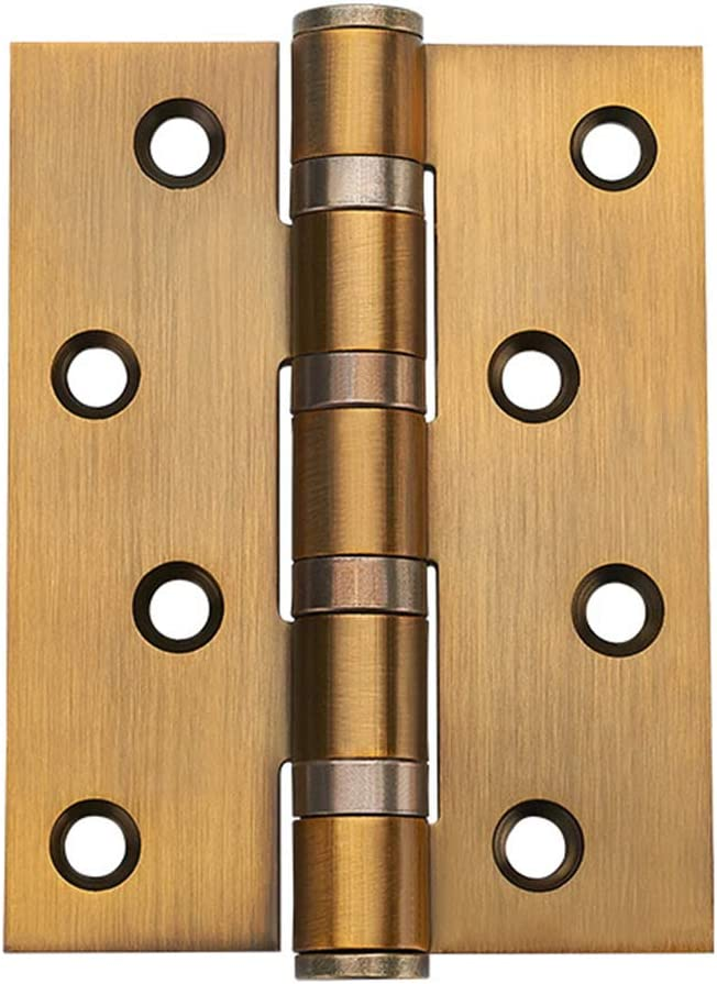 Square Ball Bearing Door Hinges Golden 4 Soft Close Stainless Steel Folding Butt Hinges with Installation Screws