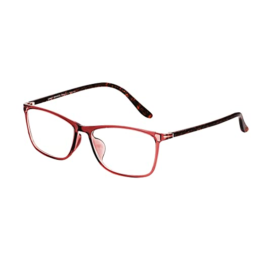 15c9a4a8e8fc Amazon.com  Jimmy orange Rectangular Eyeglasses and Reading Glasses Clear  Lenses Tr90 Spectacle Brown Demi Frame J5201 (Brown