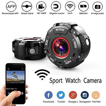 ADHOSJO Pulsera cámara Oculta Mini cámara G600 Impermeable natación Buceo Deportes DV Reloj Banda WiFi App