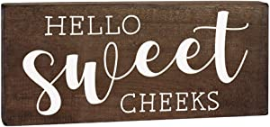 Elegant Signs Hello Sweet Cheeks Sign - Cute Bathroom Decor - Country Decoration 5.5x12 Funny Rustic Wood Wall Art Toilet Plaque