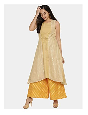 39d09d2184b7f Amazon.com  Hiral Designer Indian Pakistani Kurti For Women Gold-Toned  Printed A-Line Layered Kurta Dresses  Clothing