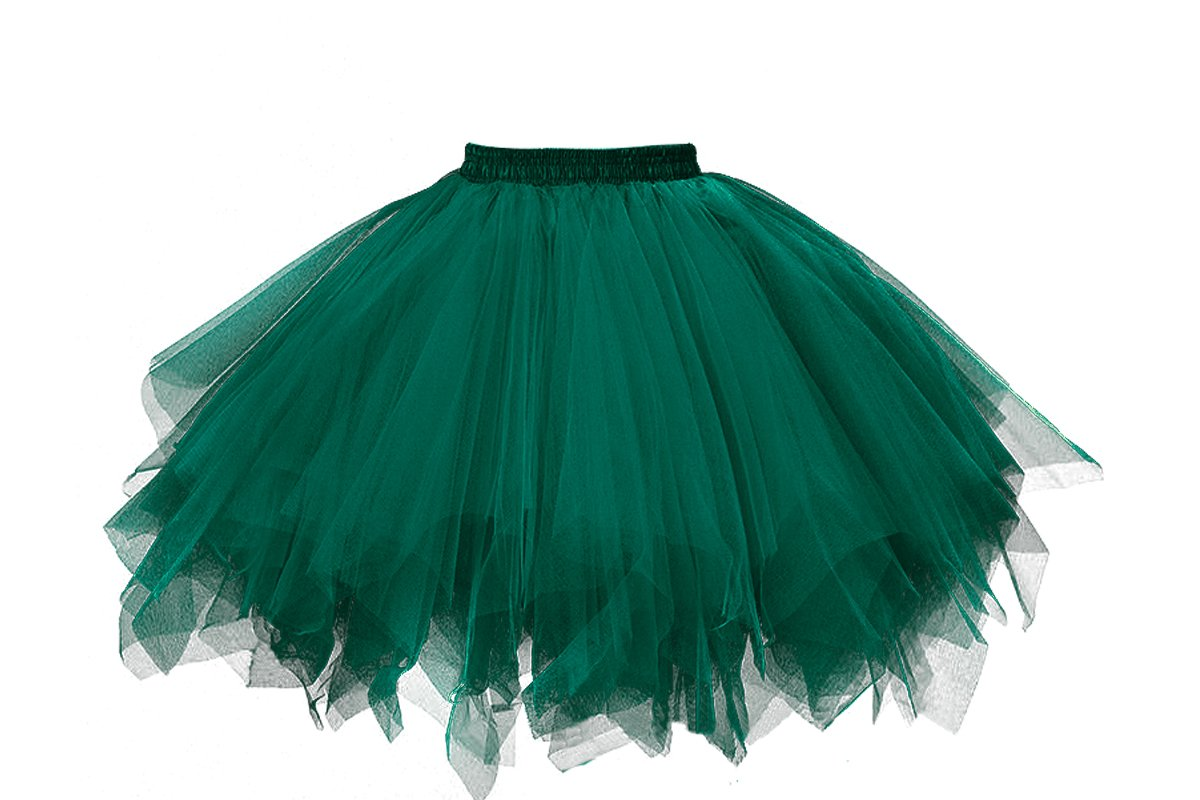 Musever 1950s Vintage Ballet Bubble Skirt Tulle Petticoat Puffy Tutu Army Green Small/Medium