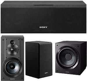 Sony SSCS5 3-Way 3-Driver Bookshelf Speaker System (Black) Bundle with Sony SACS9 10-Inch Active Subwoofer (Black), and Sony SSCS8 2-Way 3-Driver Center Channel Speaker (Black) (4 Items)