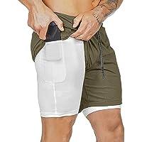 Davicher Pantalón Corto para Hombre Pantalones Cortos Deportivos para Correr 2 en 1 con Forro de Bolsillo Incorporado…