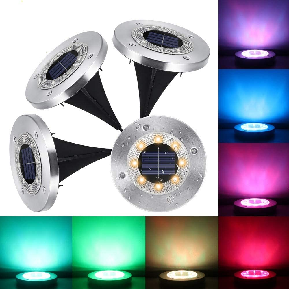 Solar Powered Disk Lights, Ourleeme 4 Pcs Solar Ground Lights with 8 LED Garden Pathway Outdoor In-Ground Lights,Color Changing Landscape Lighting Waterproof Pathway Lights for Walkway Yard Lawn