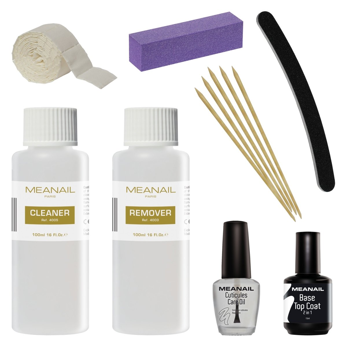 Meanail Cleaner para Gel Esmalte de Uñas Base y Top Coat Semipermanente Esmalte Semipermanente UV LED Kit de Manicura y Pedicura Meanail Paris