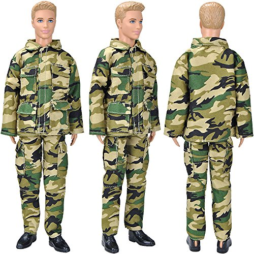 E-TING 10-Item Fantastic Pack = 5 Sets Fashion Casual Wear Clothes Outfit with 5 Pair Shoes for Boy Doll Random Style (Casual Wear Clothes + Military Uniform)