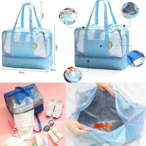 Wasserdichte Strandtasche Oversized Pockets Toy Tragetasche Grocery & Picknick Tote ,Blau