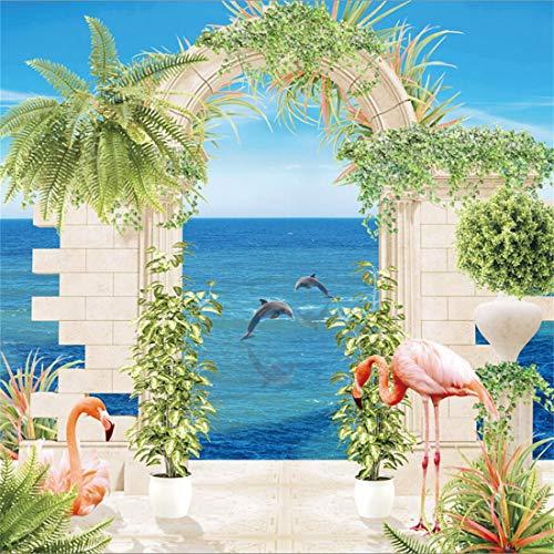 Yeele 9x9ft Vinyl Photography Background Spring Scene Balcony Fresco Brick Columns Statue Flamingo Pink Birds Dolphin Horizontal Line Sea Level Photo Backdrop Studio Props Wallpaper