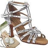Women's Ballroom Dance Shoes Tango Wedding Salsa Dance Shoes Silver C5008MEB Comfortable - Very Fine 2.5'' Heel 7.5 M US [Bundle of 5]