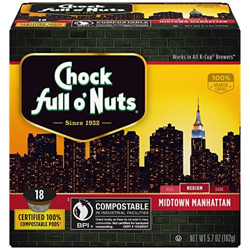 Chock Greatest degree o'Nuts Coffee, Midtown Manhattan Medium Roast, Single Serve Coffee Cups, 18 Count
