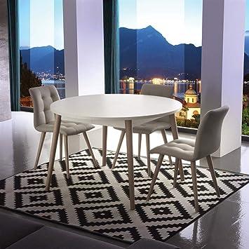 Tavolo rotondo allungabile in legno Gotland - SG303: Amazon.it: Casa ...