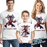 Spider-man Birthday Shirt Add Name & Age Spiderman Custom Birthday Party TShirt