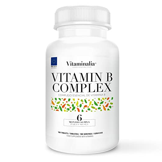 Complejo de Vitamina B | Suministro para 6 Meses (180 Comprimidos) | 8 Vitaminas del Grupo B (B1, B2, B3, B5, B6, B7 o Biotina, B9, B12)  + B10 (PABA o ...