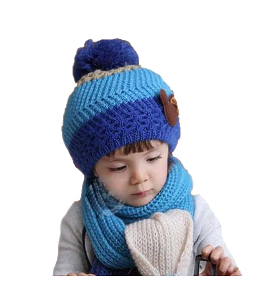Yonger Winter Baby Boys Kid Hat Knitted Crochet Beanie Cap Scarf Set