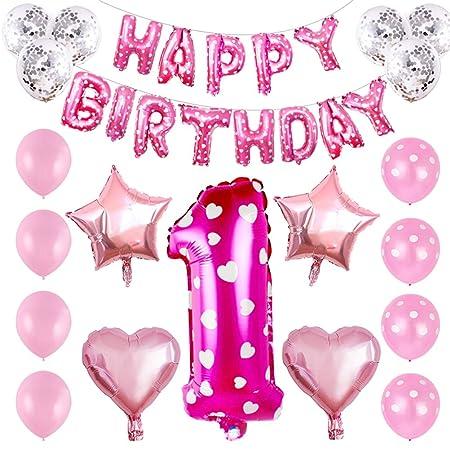Toyvian 32Pcs Globos de cumpleaños 1 año de Edad Bebé Feliz ...