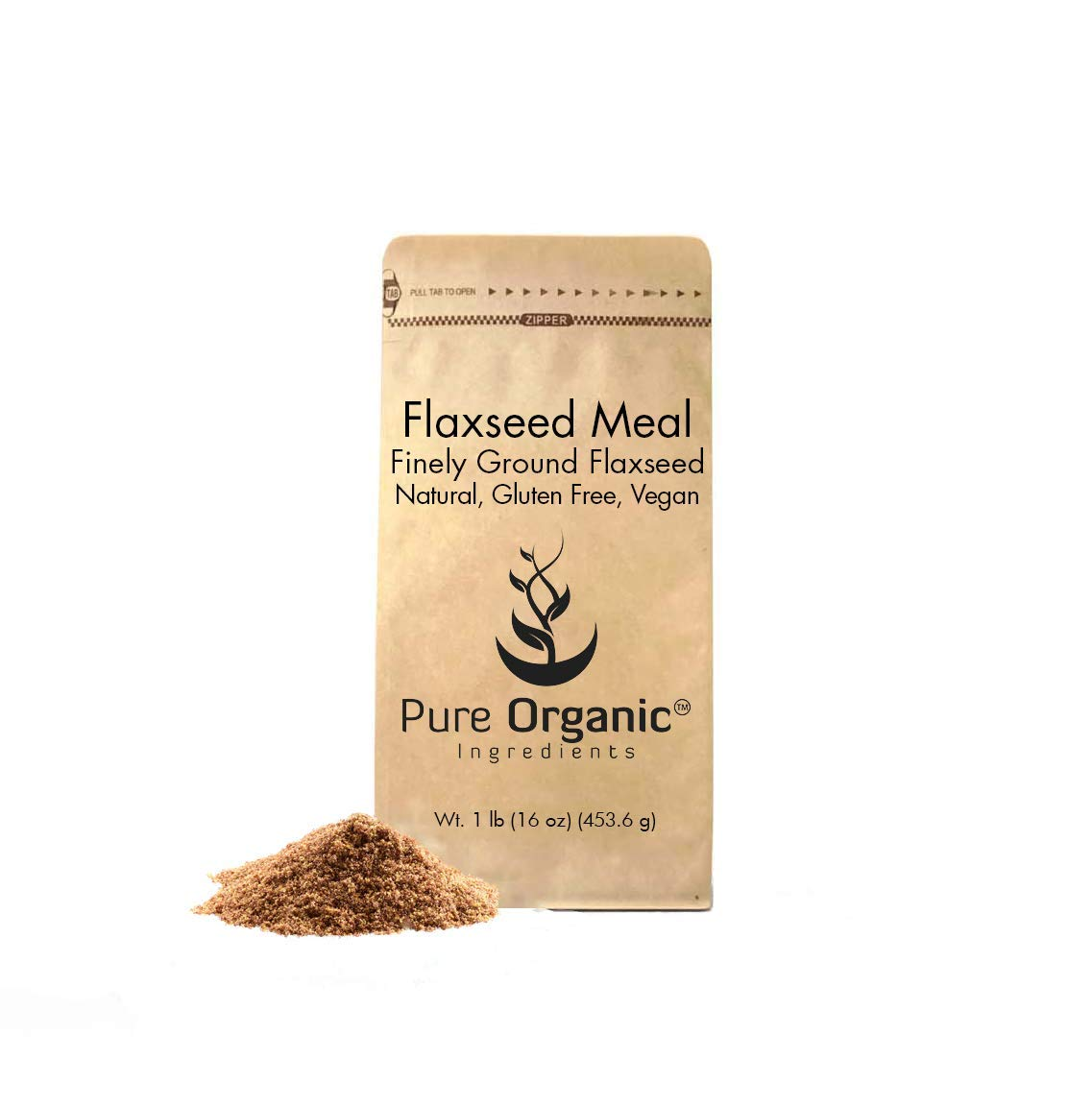 Flaxseed Meal (1 lb) by Pure Organic Ingredients, Vegan Egg Replacement, Nutritional Boost, Thickening & Binding Agent Used in Cooking/Baking, Eco-Friendly Packaging