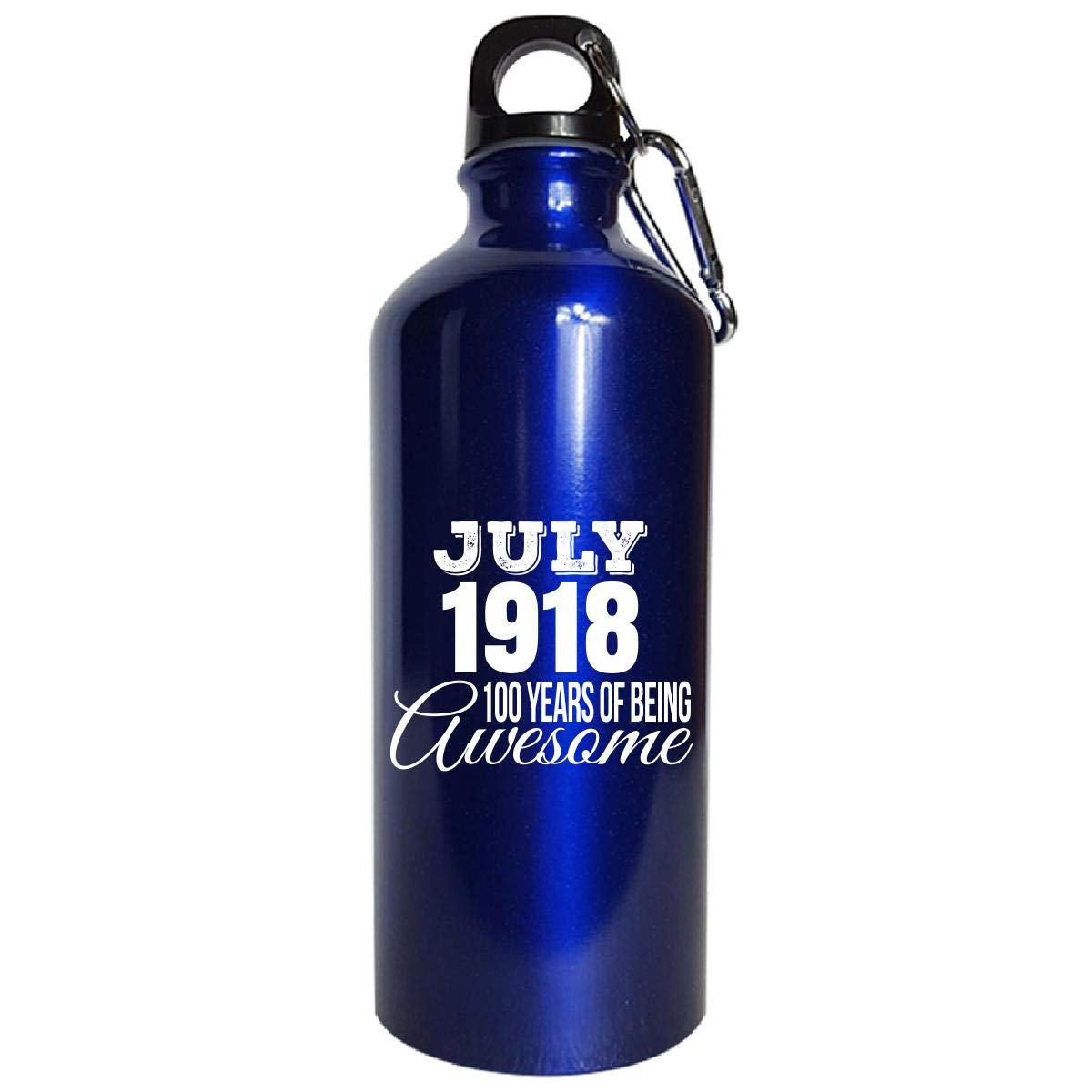 July 1918 100 Years Of Being Awesome Funny Birthday Gift - Water Bottle Metallic Blue by Shirt Luv (Image #1)
