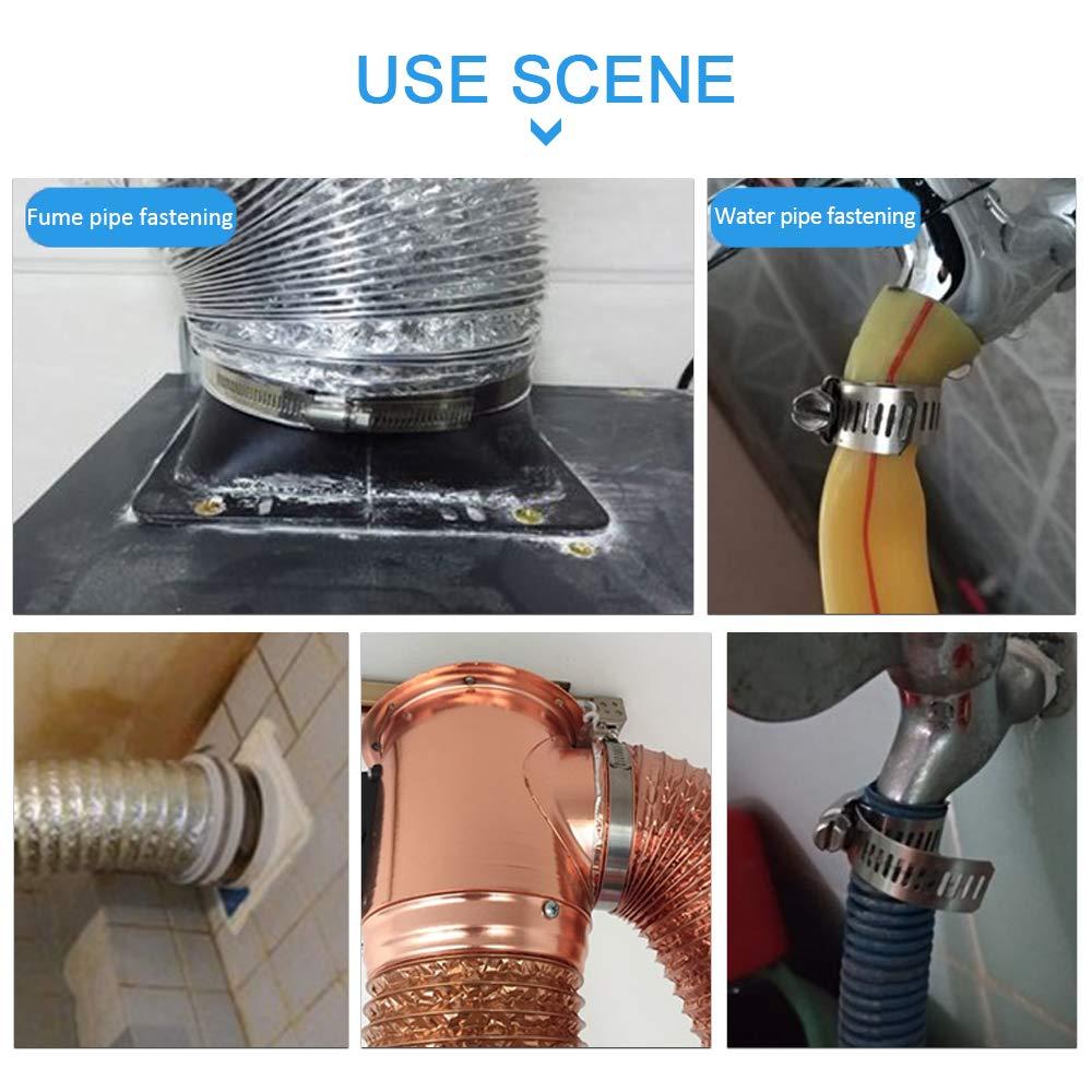 YOFASEN 12 pi/èces Colliers de Serrage Tuyau Ajustable 16-25mm en Acier Inoxydable Attaches de Tuyau /à Entra/înement par Vis Sans fin Tube de Silicone pour gaz /à l/'eau Applications Automobiles