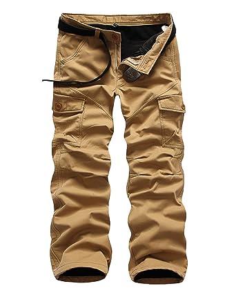 dee33e449f7e Herren Plus Samt Cargohose Tasche Gerade Beiläufige Winter Im Freien Wärme  Multi-Tasche Lose Freizeithose Arbeitshose  Amazon.de  Bekleidung