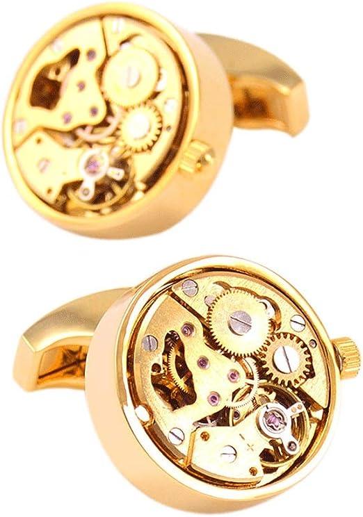 ZDAMN Gemelos de Camisa de Traje de Hombre Gemelos for Hombre Steampunk Reloj Vintage Reloj con