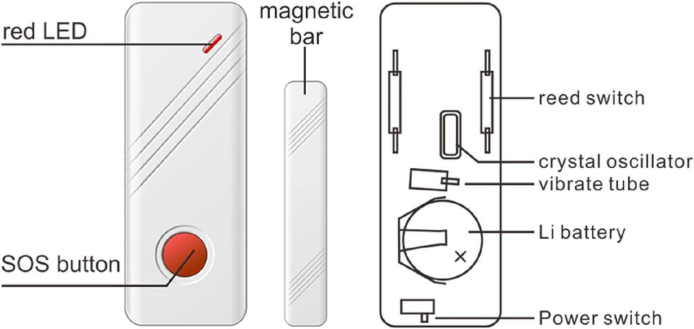 para sistema de protecci/ón del hogar bot/ón de emergencia Sensor de ventana de puerta 433 MHz Wolf-Guard MC-03B interruptor de alimentaci/ón