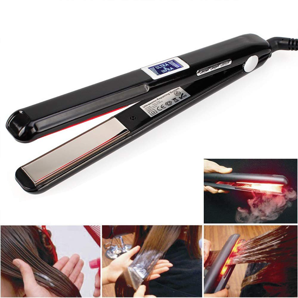 Hair Care Ultrasonic Infrared Hair Straightener, Saprex Professional Cold Flat Iron Hair Treament Styler Therapy Conditioning Tool Recovers the Damaged Hair Ultrasonic Infrared Hair Care Iron Black
