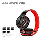 Dozod Over Ear Bluetooth Headphones, Foldable Hi-Fi Deep Bass Wireless Headphones with Microphone and Wired Headset Support SD/TF Card for Travel Work Cell Phones PC