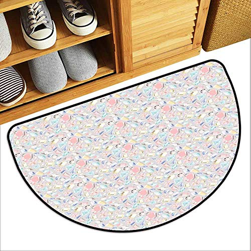 DILITECK Interior Door mat Diamonds Pastel Colored Cushion Baguette Square and Oval Shaped Design Star Filled Backdrop Non-Slip Door mat pad Machine can be Washed W31 xL20 -