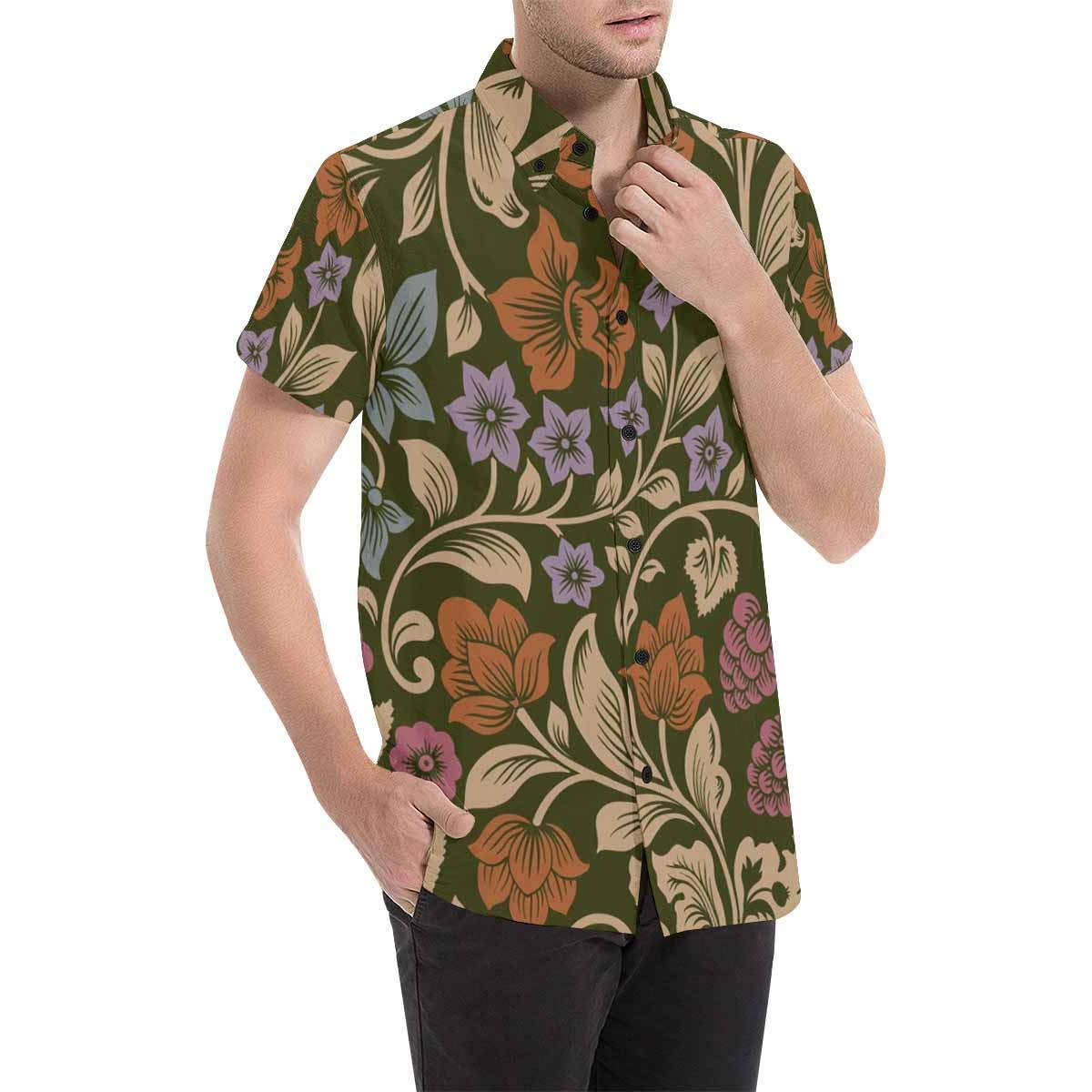 InterestPrint Mens Botton Up Flowers and Berries Short Sleeve Shirts