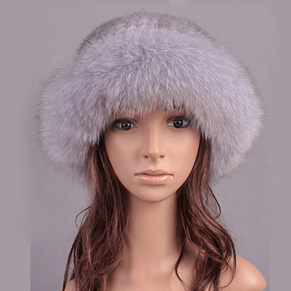Womens Winter Hat Knitted Mink Real Fur Hats with Fox Fur Brim Elegant Hat for Women Grey by ClimbUp (Image #2)