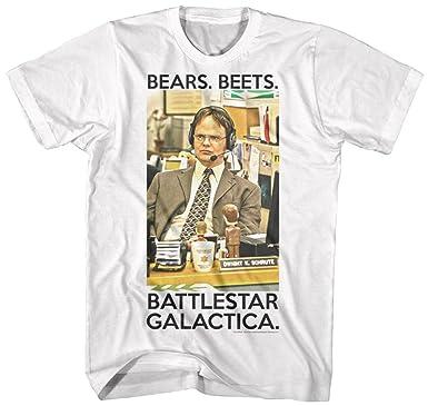 0377de8e0 T-Line Men's The Office TV Series Dwight Schrute Graphic T-Shirt, White