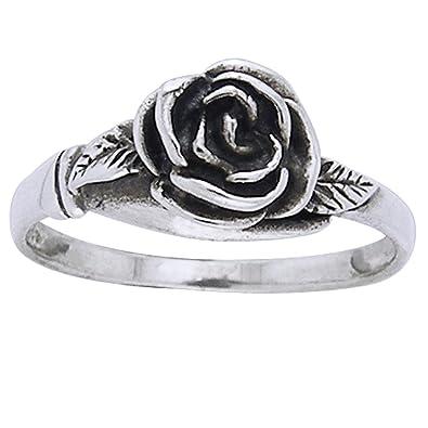 Eternity Rose Flower Stackable Ring New .925 Sterling Silver Band Sizes 4-12 Pierścionki i obrączki Sztuczna biżuteria